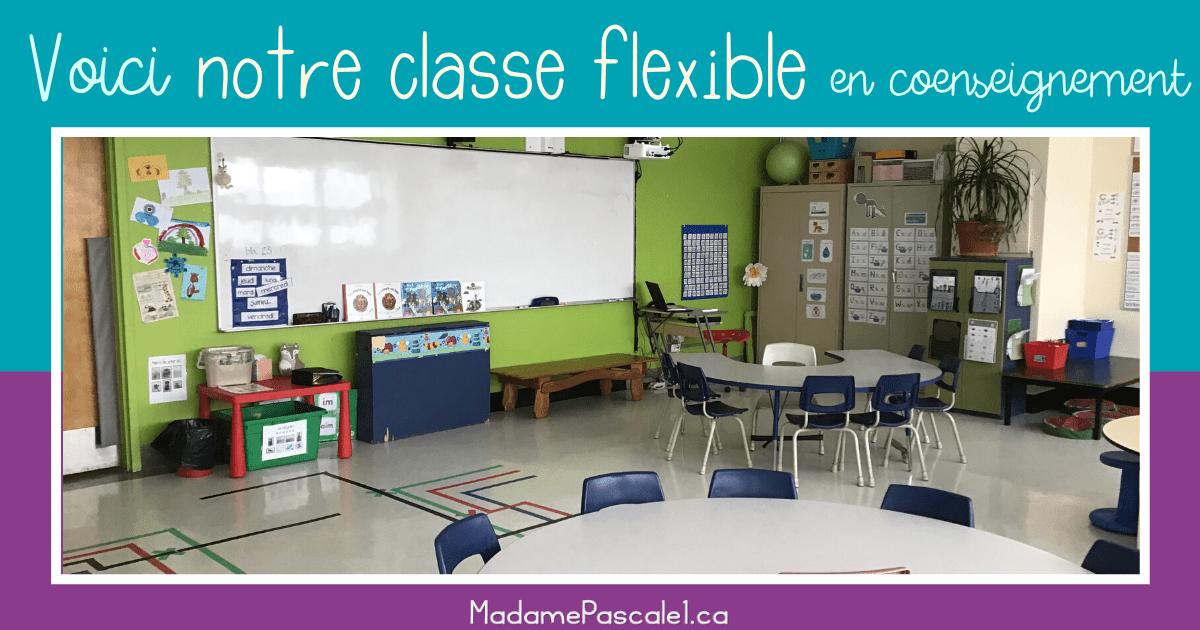 Notre classe flexible en coenseignement. Voyez l'environnement de 37 élèves et de 2 enseignantes de 1re année dans un quartier défavorisé de Montréal.