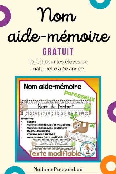 Gratuit - nom aide-mémoire pour les enfants de maternelle à 2e année